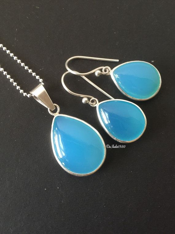 Blue chalcedony jewelry sets sterling