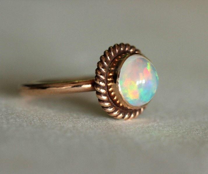 Buy Engagement ring Proposal ring 14K Rose Gold Opal ring gift