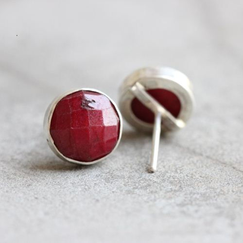 10mm Ruby Stud Earrings Genuine Round Silver Studs