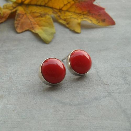 e3bbe71ab Buy 12mm red coral studs, Coral sterling silver stud earrings Online ...