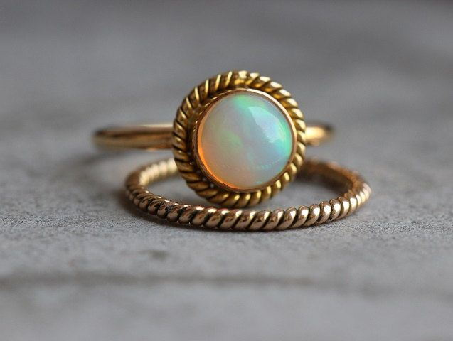 14k Gold Opal ring Engagement
