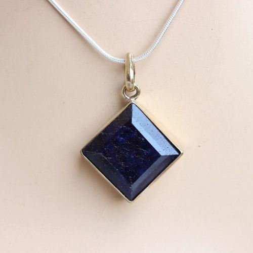 cubic created in ct with sterling sapphire saphire silver jewelry pendant zirconia