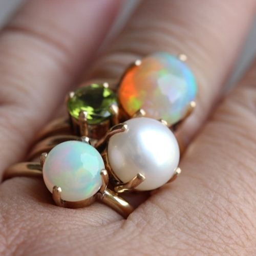 ... 18K Gold Opal Ring, Natural Opal Engagement Ring ...
