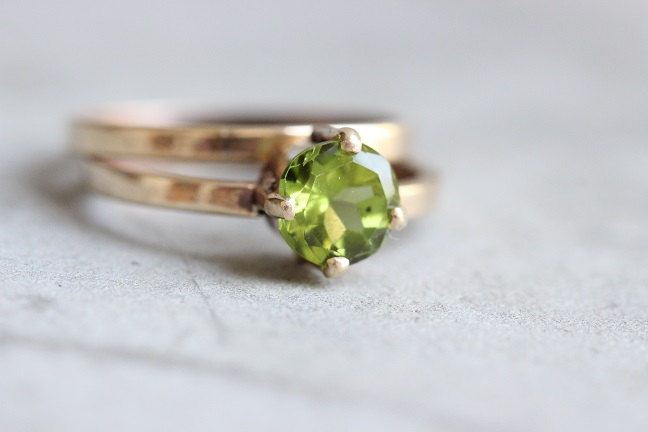 18K Gold Peridot ring Birthday