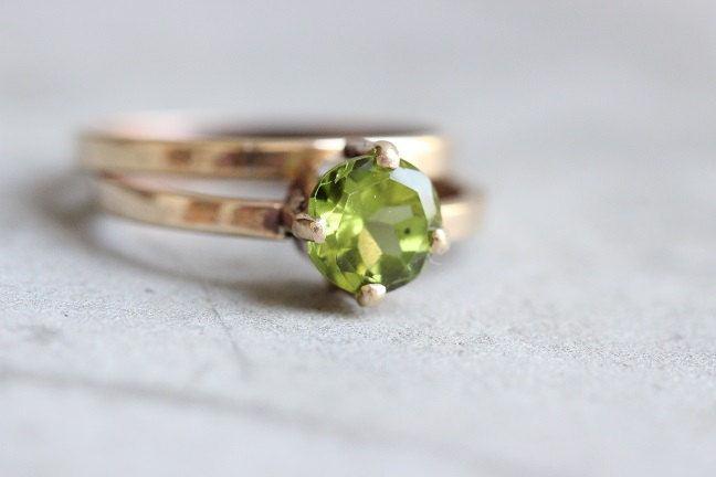 Buy 18k Gold Peridot Ring Birthday Gift Engagement Promise Ring