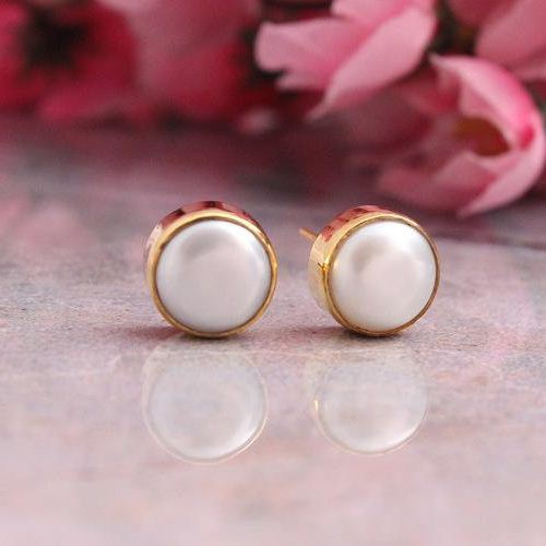 18k Yellow Gold Pearl Earrings Stud 8mm Small Studs