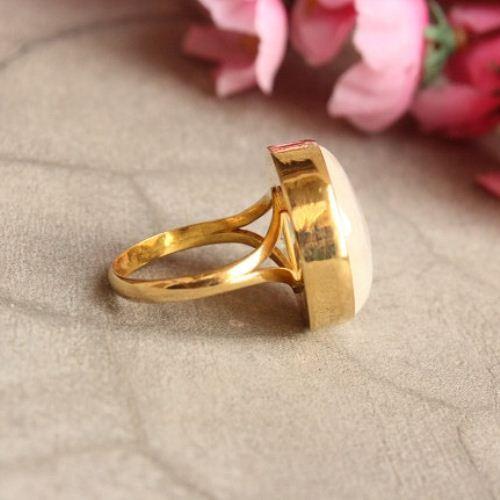 Buy 18k Gold Rainbow Moonstone Ring Round Ring Gift