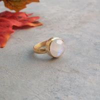 18k Gold Rainbow Moonstone ring - 14mm round - Wedding Promise ring