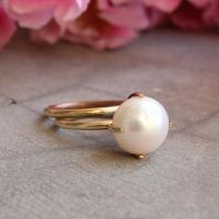 18k Gold ring - Pearl ring - Wedding ring - Engagement ring - Stack