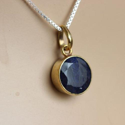Buy 18k gold sapphire pendant necklace round blue precious stone 18k gold sapphire pendant necklace round blue precious stone pendant aloadofball Choice Image