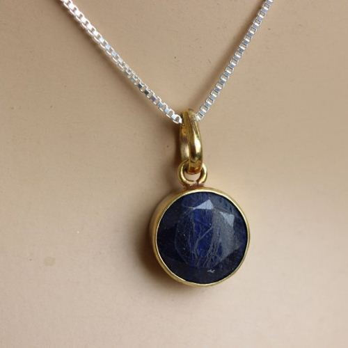 Buy 18k gold sapphire pendant necklace round blue precious stone 18k gold sapphire pendant necklace round blue precious stone pendant aloadofball Image collections