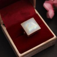 20mm Cushion Cut Rainbow Moonstone Ring - Handmade gift for her