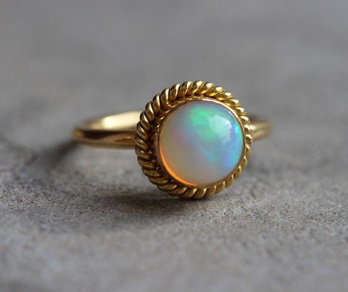 Buy 22K Gold Opal Ring Engagement ring OOAK handmade Gift for her
