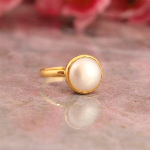 22k gold ring Gold pearl