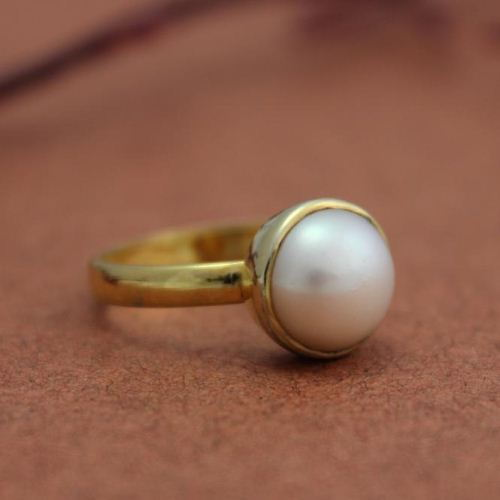 Buy 24k gold vermeil ring freshwater solitaire pearl ring 10mm