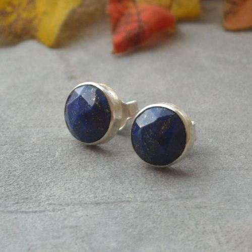 8mm Lapis Lazuli Stud Earrings Denim Silver