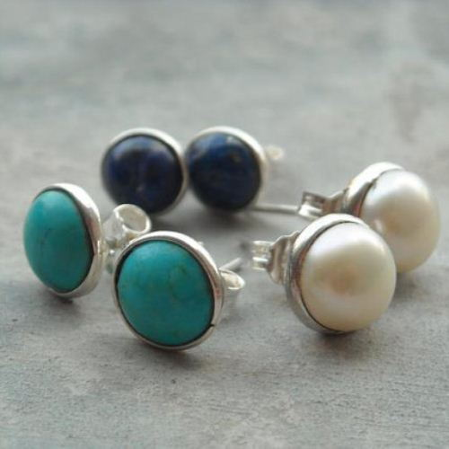8mm studs turquoise pearl lapis