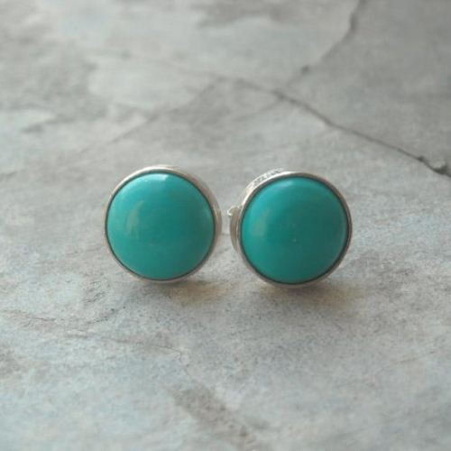 8mm Turquoise Stud Earrings 925 Sterling Silver