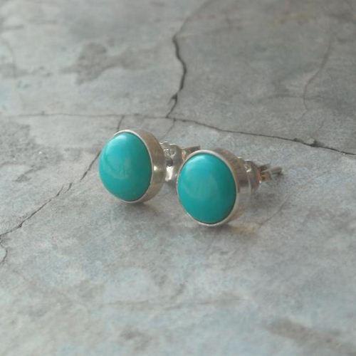 650fdf35c ... 8mm turquoise stud earrings, 925 sterling silver artisan earrings ...