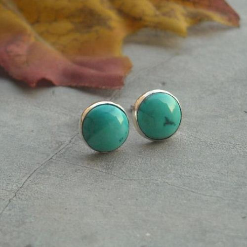 8mm Turquoise Stud Earrings Sterling Silver
