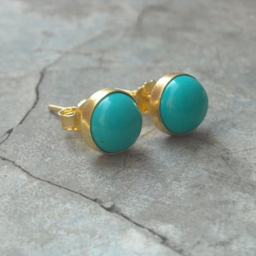 healing round genuine silver solid turquoise sterling gemstone earrings stud