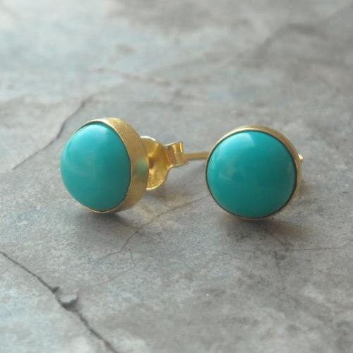 8mm Turquoise Studs Earrings 24k Gold Vermeil Genuine