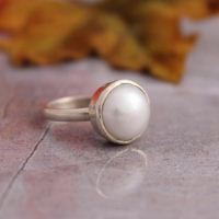 925 sterling silver pearl ring - june birthstone ring - freshwater