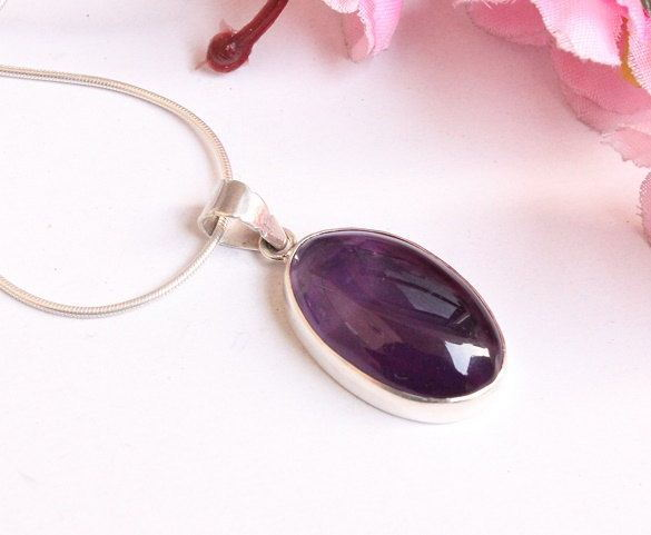 Genuine amethyst pendant necklace Purple