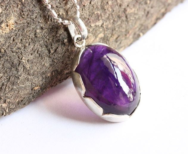 February birthstone pendant Natural purple