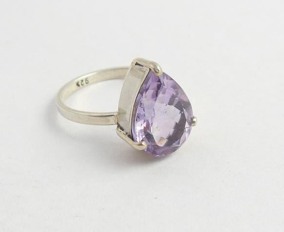 Amethyst Ring Purple ring Prong