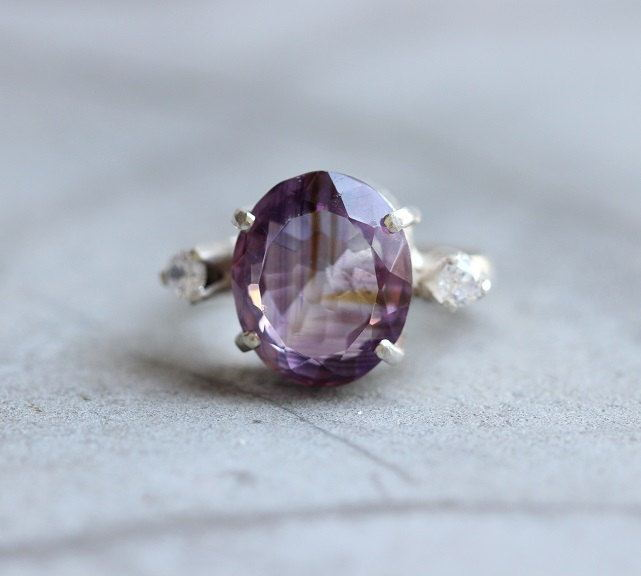 Amethyst ring white topaz ring