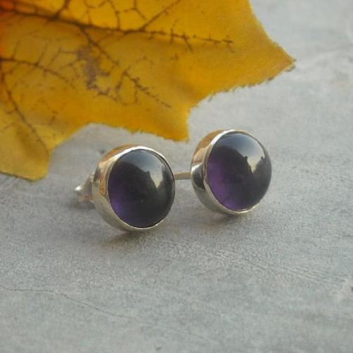 Amethyst stud earrings february birthstone