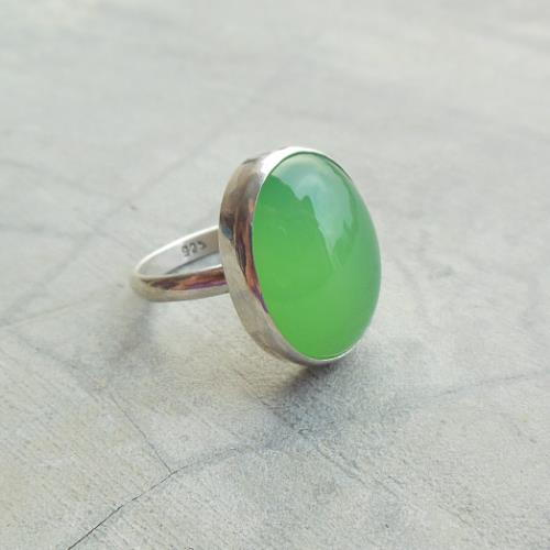 Buy Apple Green Oval Chalcedony Ring Oval Gemstone Silver Ring Online At Astudio1980 Com