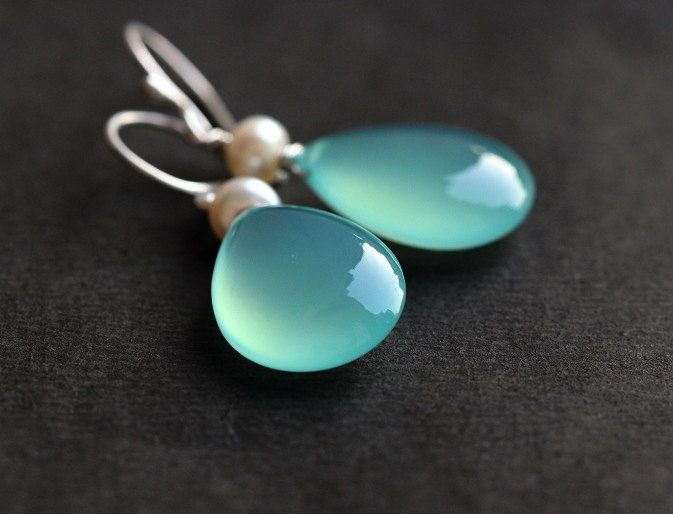 Aqua Blue earrings Pearl earrings