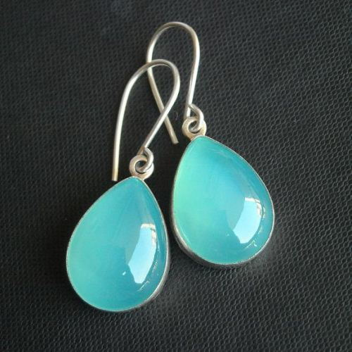 Aqua Blue Chalcedony Earrings Earring Jewelry Sterling