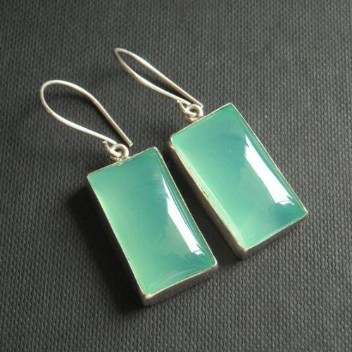 Aqua blue Chalcedony Earrings Rectangle
