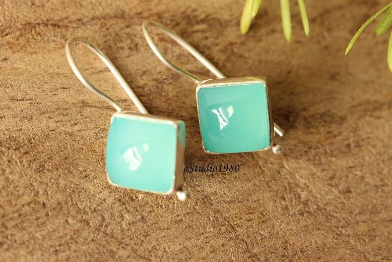 5ab10ec0c Buy Aqua blue chalcedony earrings, Silver dangle earrings, Square ...
