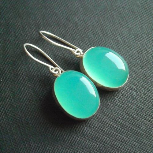 Aqua blue chalcedony earrings unique