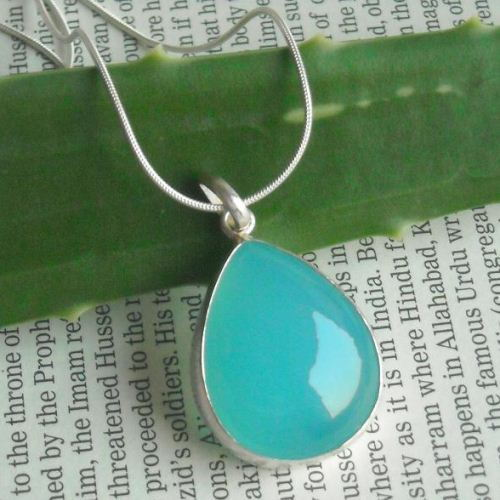 Aqua blue chalcedony pendant necklace