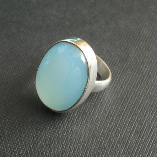 Buy Aqua Blue Chalcedony Ring Oval Stone Sterling Silver