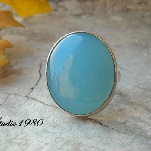 Aqua blue chalcedony ring Oval Round gemstone ring