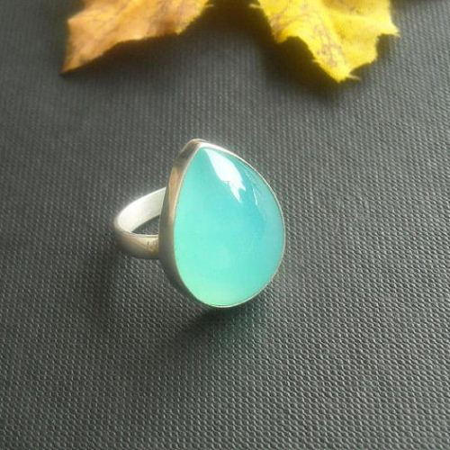 Aqua blue chalcedony ring Sterling