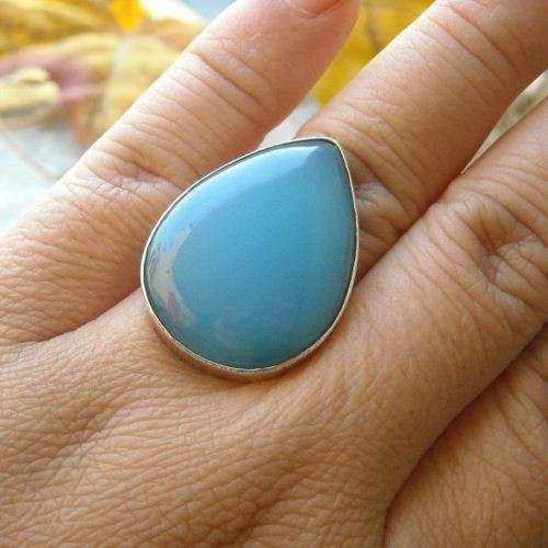 Aqua blue chalcedony ring drop