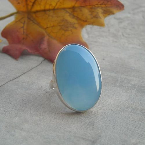 Aqua blue chalcedony ring large
