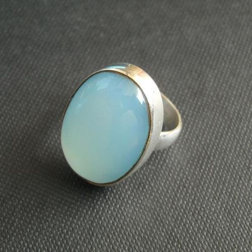 Aqua blue chalcedony ring oval