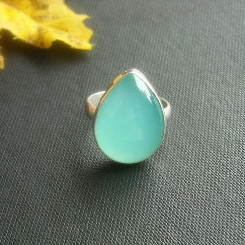 Aqua blue chalcedony ring tear