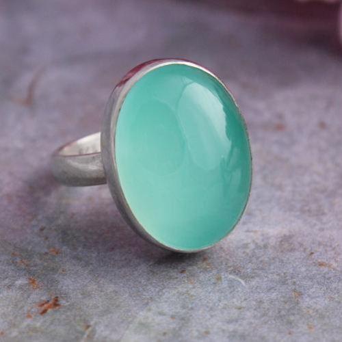 Buy Aqua Chalcedony Sterling Silver Gemstone Ring Oval