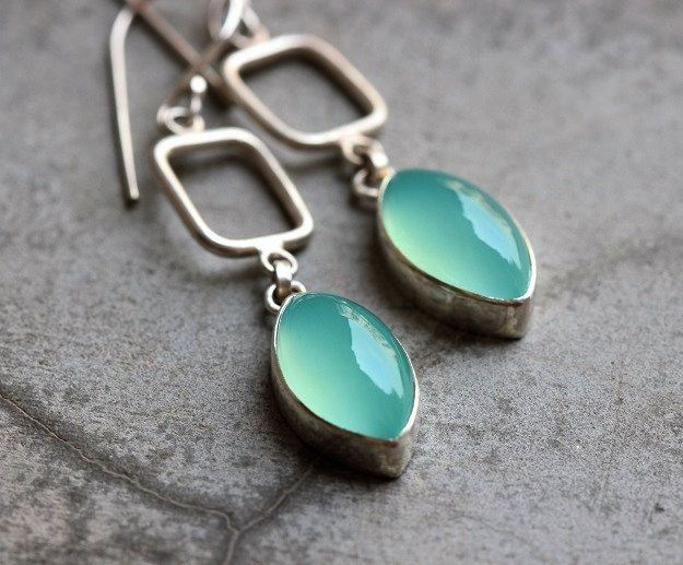 Aqua earrings Chalcedony earrings Aqua