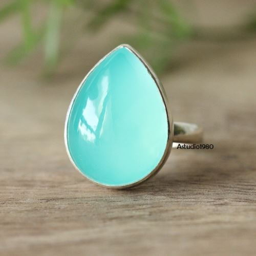 pale ring green cocktail glowing rings engagement statement media chalcedony set bezel crown