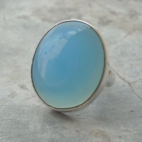 Buy Aqua Ring Blue Chalcedony Ring Big Bold Silver Ring